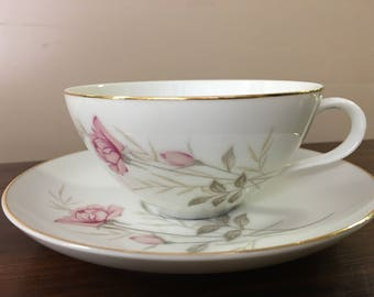 Camelot China American Rose 4 teacups and saucers