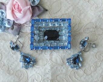 Lovely Vintage Blue Rhinestone Brooch with Coordinating Earrings