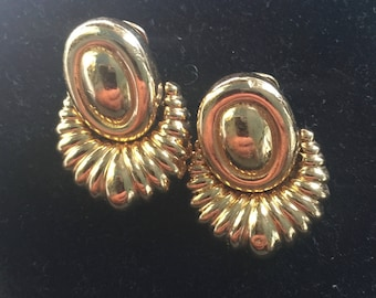 Pair of Christian Dior clip on hoops in gold plate circa 1980