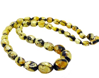 Art Deco Vintage Venetian Murano Black and Gold Foil Glass Beads Necklace