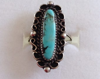 Native American  Navajo Vintage Turquoise Sterling Silver Ring Size 7