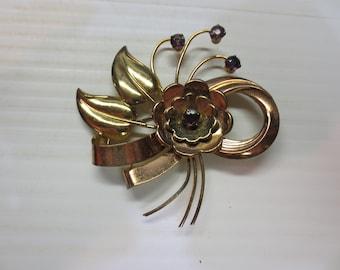 Harry Iskin Retro Rose Gold Fill Pin Brooch Vintage 1940s 12K GF