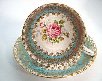 Antique Royal Stafford Turquoise, Turquoise and Gold Tea Cup & Saucer, Pink Roses tea cup and saucer set.