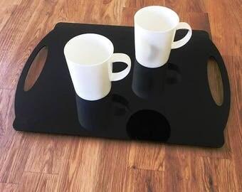 "Rectangle Flat Serving Tray - Black Gloss Finish Acrylic, 3mm Thick 30cm x 40cm 12""x16"""