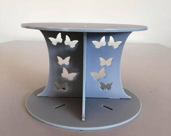 "Butterfly Round Light Grey Mat Acrylic Cake Pillars/Cake Separators, for Wedding / Party Cakes 10cm 4"" High, Size 6"" 7"" 8"" 9"" 10"" 11"" 12"""