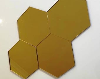 "Gold Mirrored Acrylic Hexagon Crafting Mosaic & Wall Tiles, Sizes: 1cm to 20cm - 1"" to 7.9"""