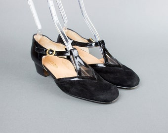 Vintage 1980s T Strap Shoes | 80s Black Suede Patent Leather Heels (womens 8)