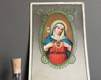 Antique Polish Brooklyn Postcard With Mother Mary And Immaculate Heart