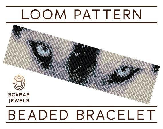Wolf Eyes Pattern Loom Beading Bracelet Cuff Bead Pattern