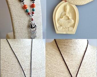 GemStone Necklace Tibet Style/Necklace Buddha/Pendant Ox Bone/Necklace Magnesite/Pendant