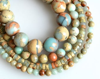 """Natural Color Africa Opal Beads Round Shape Size From 4mm to 10mm 16"""""""