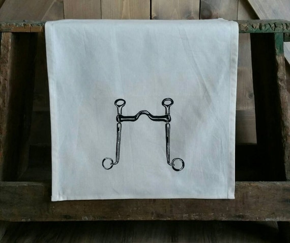 Tea Towel- Long Shank Curb Bit- Unbleached Cotton Equestrian Tea Towel