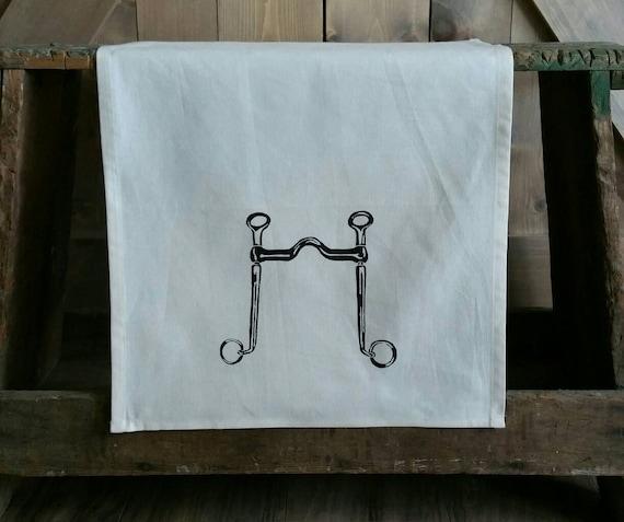 Tea Towel- Long Shank Curb Bit- Unbleached Cotton Equestrian Tea Towel