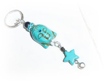 Buddha head, star key chain