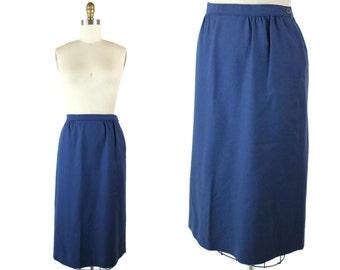 1980s Classic Blue Pencil Skirt / 80s Wool Knee Length Skirt