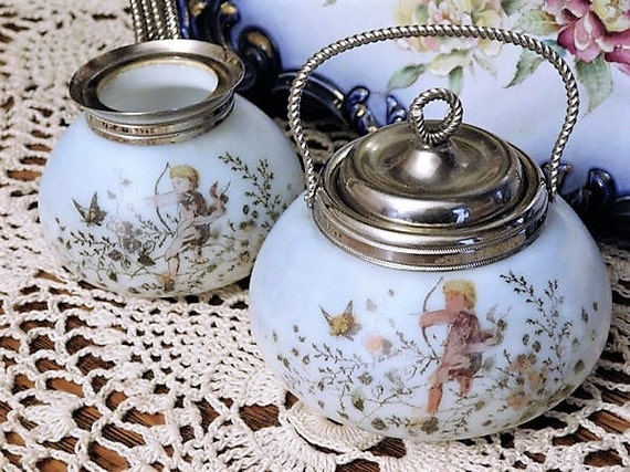 1800s Mt Washington Sugar Creamer Opaline Victorian Art Glass Transferware Cupid Cherub Scene Handled Sugar Bowl with Lid Creamer Set