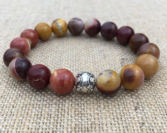 10mm Mookaite Jasper stretch bracelet with a Sterling Silver Bali bead