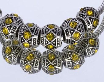 Yellow Rhinestone Tibetan Silver European Beads - 10 beads