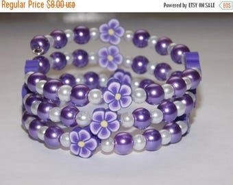 15%OFF Girls Purple Pearl  White Pearl Flower Wrap Bracelet