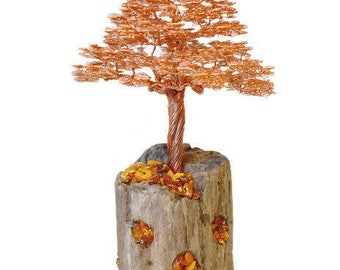 Wire tree | Driftwood sculpture | Wire tree sculpture | Amber sculpture | Metal sculpture | Copper wire | Wire sculpture | Copper sculpture