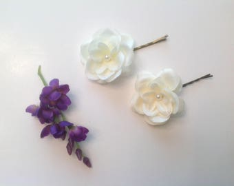Flower Girl Hair Pins Wedding Hair Accessory 3 Ivory or White Hair Pins Bridal Hair Pins Prom Hair Pins - Set of 3 - Ready to Ship!