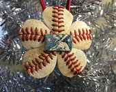 Handcrafted Baseball Ornament Featuring MLB Logo
