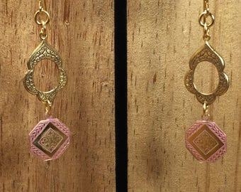 Solid Brass Etched Dangle Earrings
