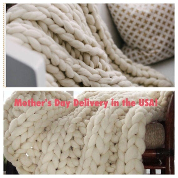 "Chunky Knit Blanket, 32x54""  Mothers Day Delivery! Pure Merino Throw Blanket, Giant Knit Blanket, Huge Stitch Size"