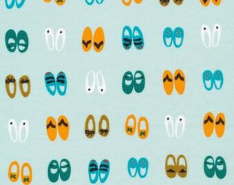 Shoe KNIT, Fancy Feet on Blue by Cloud 9 Fabrics, Sidewalk knit, modern knit, organic fabric, floral knit, knit fabric apparel fabric