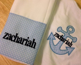 Baby Boy Personalized Bib & Burp Cloth
