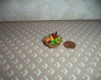 1:12 scale Dollhouse miniature Gold metal fruit bowl
