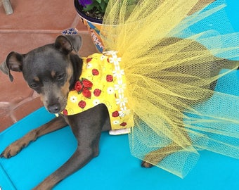 Sunshine Yellow Easter and Spring Dog Tutu Dress for Dogs, Cats and Puppies XXS-XXL