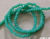 JADE OPAL: 1x2mm Faceted Glass Rondelle Strand (195 beads per strand)