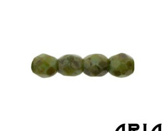GREEN TURQUOISE TRAVERTINE: 3mm Faceted Round Firepolish Czech Glass Beads (50 beads per strand)