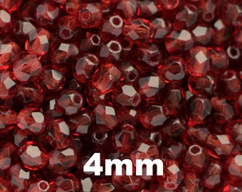 4mm Mauve (50pcs) Czech Fire Polished Glass Polish Faceted Round Beads