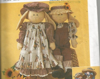 Uncut and factory folded SIMPLICITY  CRAFT PATTERN by Elaine Heigl designs.  24 inch rag doll or bunny and clothes.  pantaloons, hat, dress