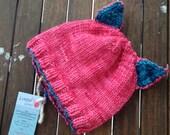 pussyhat, pink pussycat, Pink Pussy Cat Hat, Knit Pussy Hat, pink cat hat, kitty, animal hat,  Knit Cat Hat, Handknit, merino wool