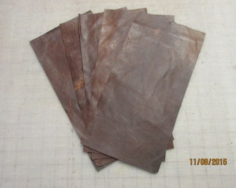 5 Panels of Brown Distressed Bison Leather - 12'' By 6'' - Made in the USA
