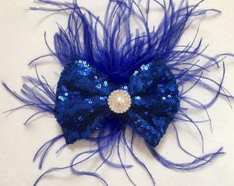 Royal Blue Feather Hair Bow Fascinator, Bridal Feather Hairpieces, Bride Maids, Dance Costume Feather Bow, Gold, Red, Blue Sequin Feather Bo