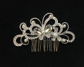 Bridal Hair Comb, Rhinestone Pearl Hair Comb, Fresh Water Pearl Rhinestone Butterfly Hair Comb, Dance Costume Comb, Pearl Rhinestone Bridal