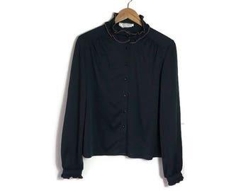 70s black blouse / pie crust blouse / vintage black ruffle shirt / retro black blouse / black stretchy blouse / vintage layering / ruffles