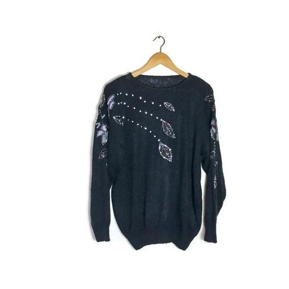 Black sequin 80s sweater // boho batwing sweater // boho enbellished jumper // 80s black sparkle sweater // black boho 80s jumper // sequins