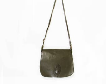 Green leather crossbody bag
