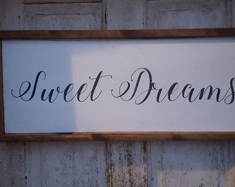 Sweet Dreams, farmhouse decor, farmhouse style sign, framed sign, Sweet Dreams sign, nursery sign, farmhouse decor, bedroom sign, bedroom