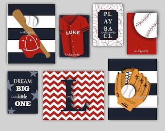 Baseball Nursery Decor Wall Decor, Baseball Wall Art Baseball Art, Personalized Baseball Art Prints, Sports Nursery, Sports Wall Art BB2204