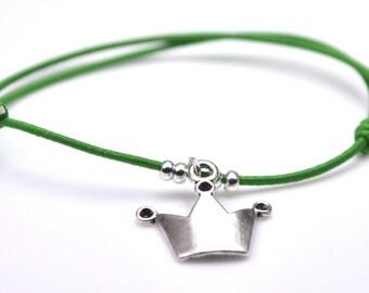 Crown bracelet light green cord