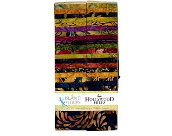 "Island Batik Hollywood Hills Green Rust Purple Batiks Jelly Roll Strips Pack 40 2.5"" Strips of Fabric"