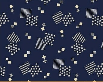 Windham Let Freedom Ring American Blue with Cream Block and Star 40949-1 Fabric BTY
