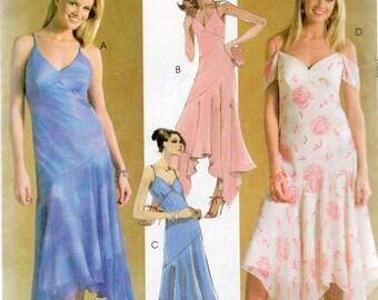 McCall's Evening Elegance Pattern 4373 Dropped Waist/Shaped Hemline/SHOULDER STRAPS DRESS Misses Sizes 4 6 8 10