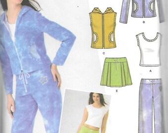 Simplicity Jr Trend Pattern 4507 KNIT TOP JACKET Vest Pants Skirt Tote Bag  Jr. Sizes 3/4 - 9/10